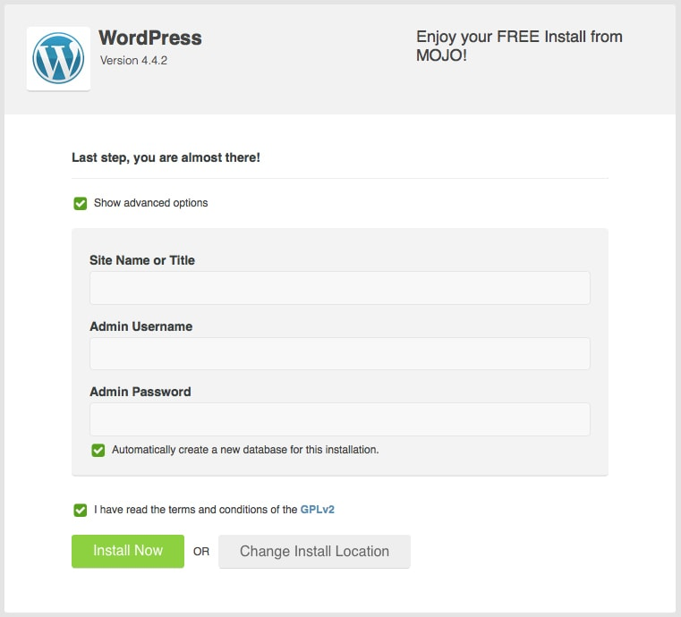 Install WordPress Last Step