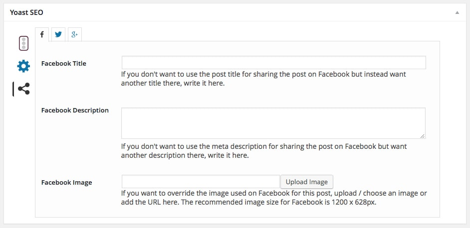 Yoast SEO Post Editor Social Media Settings