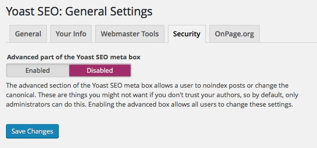 Yoast SEO General Settings: Security