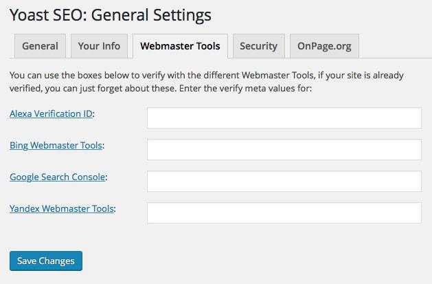 Yoast SEO General Settings: Webmaster Tools