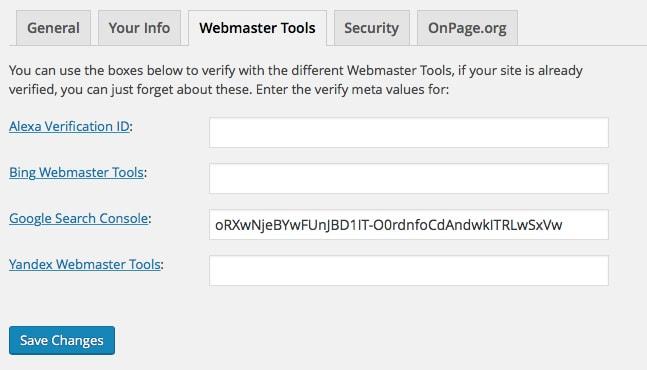 Toast Webmaster Tools Google Tag Settings