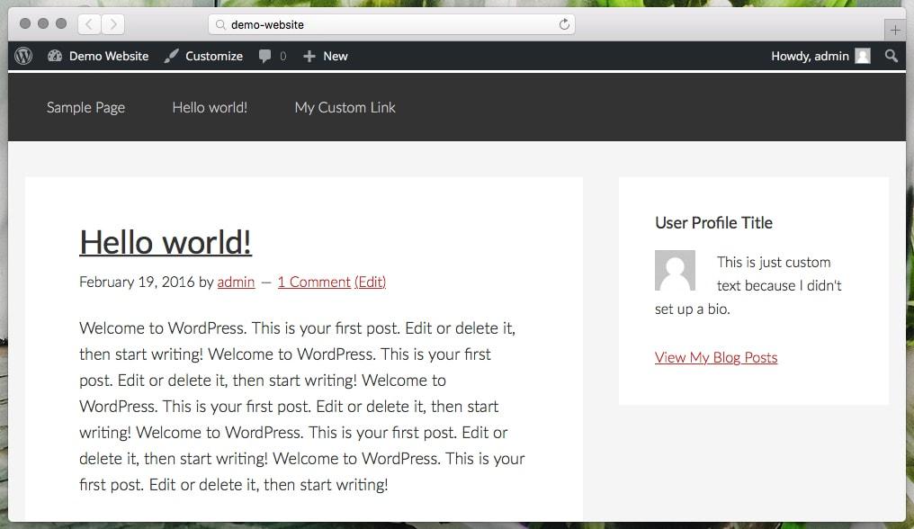 User Profile Widget Example