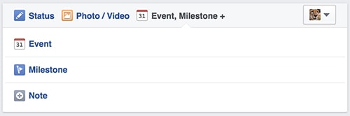 Facebook Event, Milestone and Note