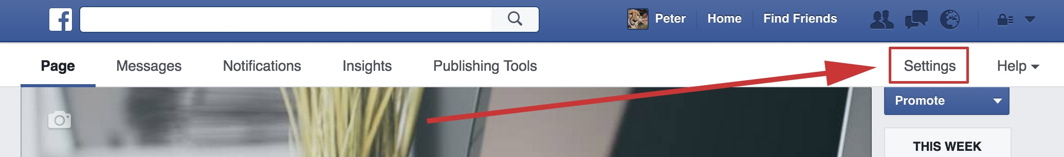 Facebook Page Settings Link