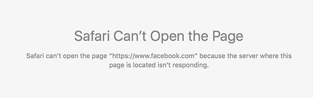 This is what you see when you try to access Facebook using Safari