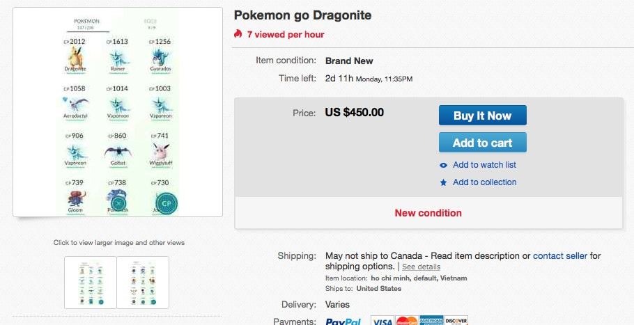 Selling Accounts on eBay
