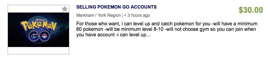 Selling New Pokemon Go Accounts